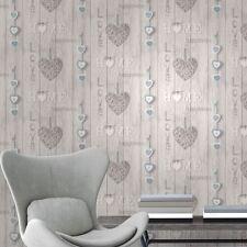 Love Your Home Carta Da Parati-Blu-Fine Decor FD41719 NUOVO Shabby Chic