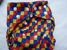 New Red Blue Yellow Checkered ClothDiaper Cover Double Gusset PUL EB2232