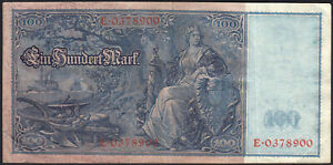 1910 100 Mark Germany Old Vintage Paper Money Banknote Currency Note Antique VF