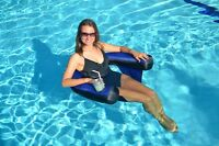 Swimline 90465 Inflatable Blue Fabric Nylon Covered Swimming Pool U-Seat Chair