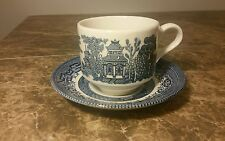 Churchill Blue Willow Flat Teacup and Saucer English Pottery