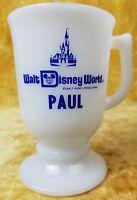 Walt Disney World White Milk Glass Pedestal Coffee Mug Cup Personalized PAUL