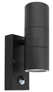 Black PIR Double Outdoor Wall Light With Movement Sensor IP44 Garden Light