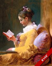 YOUNG WOMAN GIRL IN YELLOW DRESS READING A BOOK PAINTING ART REAL CANVAS PRINT