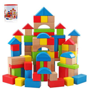 100PC Wooden Building Blocks Kids Construction Wood Toy Brick Set Storage bucket