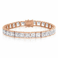 Cubic Zirconia Tennis Bracelet Rose Gold Plated  6x6mm Square White CZ