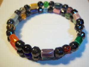 Multi-Color MAGNETIC & Mixed Color GLASS Bead WRAP Bracelet A-48