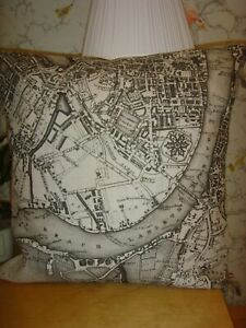 MADE in ZOFFANY LONDON 1832  LINEN MAP PRINT CUSHION COVER FITS 16in pad SILVER