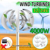 4000W 12V/24V 5 Cuchillas Viento Generador Turbina Eje Vertical Controlador !!