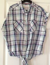 LADIES WOMENS CHECKED TIE WAIST SHIRT BLOUSE TOP SIZE 16