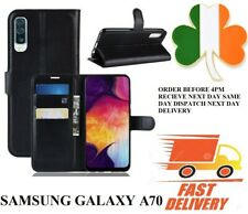 samsung galaxy A70 NEW  TPU Leather new book case screen cover black