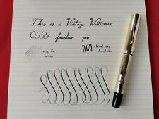 Rare Vintage Waterman 0555 Gothic Overlay Fountain Pen - 14ct Gold Semi-Flex Nib