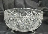 "Vtg American Brilliant Glass Footed Bowl Pinwheel Hobstar Pattern 8-1/2"""