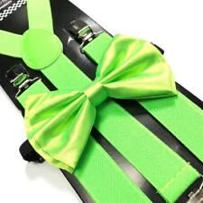 Neon Lime Green Bow Tie & Suspender Set Tuxedo Wedding Suit Formal  Accessories