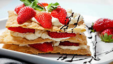 "Poster 24"" x 16"" Food Dessert Snack Strawberry Cream"