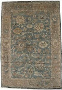 Hand-Knotted Floral Design 6X9 Antique Style Washed-Out Oriental Rug Home Carpet