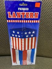 Fringed Lantern-Patriotic Red,White and Blue (2 Pack) 12 inch