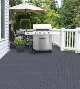 Garden Interlocking Decking Tile - Recycled Rubber Grey Decktile, 45 x 45cm