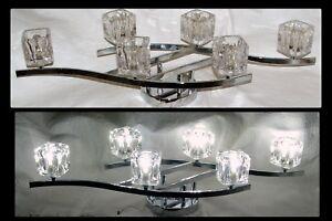 "6 LED Square Crystal Chrome 31""W Wall Sconce Lamp Lighting Bathroom Vanity Light"