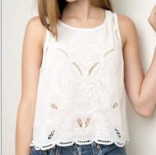 Brandy Melville cream white Ivory lace top shirt sleeveless one size