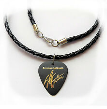 "ENRIQUE IGLESIAS Guitar Pick plectrum signature gold stamp 20"" leather NECKLACE"