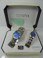 Geneva Men's & Women's Two Tone Blue Dial Classic Collection Watch Set G-32