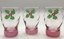 Set of 3 Pink Christmas Juice Glasses Optic Swirl Heavy Base Holly Clearance