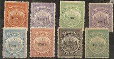 EL SALVADOR TIMBRE MUNICIPAL 1899 x8 w/1901+1902 OVERPRINTS MINT HINGED
