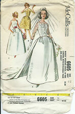 M 6605 sewing pattern Bridal GOWN vintage 60's Wedding DRESS sew JACKET & TRAIN