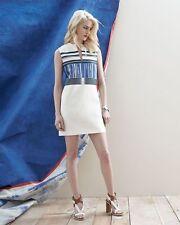 Tory Burch Mixed Patterned Plaited Stripe White Mikado Silk Sleeveless Dress 10