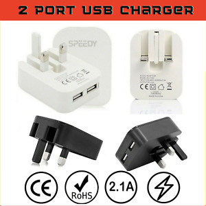 Speedy Fast Dual 2 Port USB Charger 3 Pin UK Mains Wall Plug Foldable Adaptor