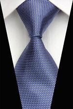 SH0620 Blue Gray  Stripe Man Classic JACQUARD Woven Necktie Tie Casual