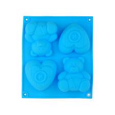 oso corazón Cupcake Chocolate Jabón Muffin Pudin Molde de silicona pan