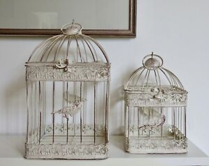 Burnished METAL Bird Cages set of 2  INDOOR OUTDOOR weddings garden ornament