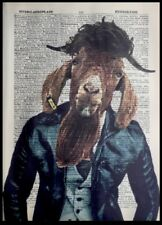 Goat Print Vintage Dictionary Page Wall Art Picture Barbers Shop Beard Hipster