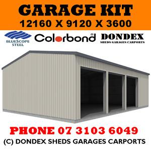 DONDEX SHEDS Garage Shed Kit 12x9x3.6 Colorbond Roof, Walls & Doors Trim