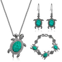 Fashion Women Lady Turquoise Necklace Bracelet Earrings Hook Jewelry Sets Gift