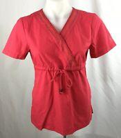 Katherine Heigl Womens Scrub Top sz XS Berry pink red
