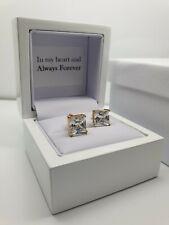 Yellow gold finish Princess cut created diamond 8mm stud earrings