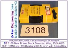 EE 3108 NEW Black Brawa 33 ft (10m) 25.5 AWG Stranded Wire Single Conductor