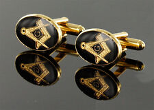Masonic Cufflinks Gold Plated Square and Compass