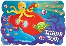 DEEP SEA FUN THANK YOU NOTES (8) ~ Birthday Party Supplies Stationery Ocean Fish