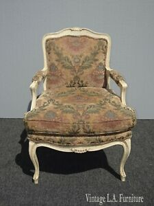 Vintage French Provincial Country Floral Accent Chair w Down Feather Cushion