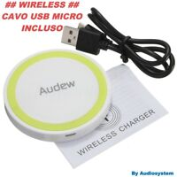 CARICA BATTERIA WIRELESS FAST QI USB PER SAMSUNG S5 S6 S7 S8 EDGE PLUS G950 G955