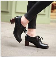 Women Vintage British Lace Up Oxfords Brogue Block Mid Heels Creeper Shoes Pumps