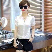 Women Satin Silk Like Short Ruffle Frill Sleeve Shirt Casual Collared Blouse New