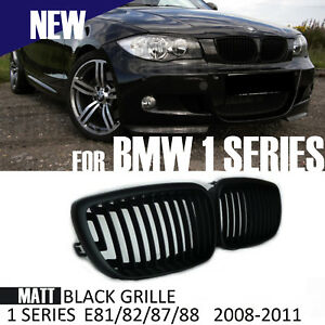 GRILLE FOR BMW 1 SERIES E81 E82 E87 E88 MATT BLACK KIDNEY FRONT 2008 - 2011