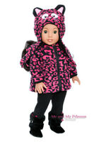 FLEECE JACKET + HAT + LEGGINGS + BOOTS girl clothes for 18 inch American Doll