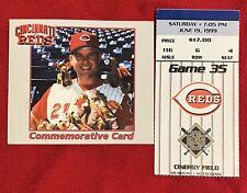 Cincinnati Reds Sean Casey Commemorative Beanie Babies Card &Game Ticket 6/19/99
