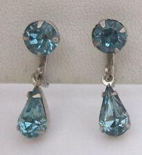 Vintage Dangling Aqua-Blue Rhinestone Earrings